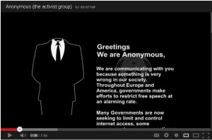 The Anonymous protest from 2011--a youtube video from a site devoted to them.