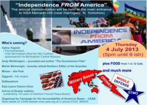 The party CAAB is throwing to mark their desire for Independence FROM American surveillance on July 4 in North Yorkshire, England.