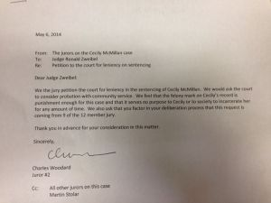 The letter that jurors wrote to Judge Zweibel regarding Cecily McMillan.
