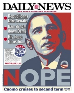 Daily News cover from the day after the elections.