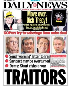 The Daily News calls out the GOP for sabotaging negotiations with Iran.