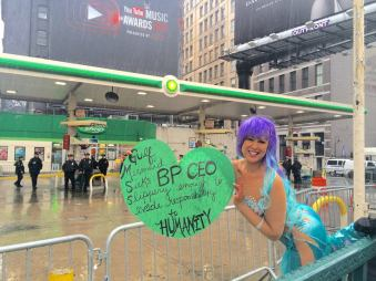 Marni Halasa, making the world unsafe for a BP station on the fifth anniversary of the Deepwater Horizon disaster.