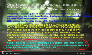 the screen from the Lord Monckton climate change denial video. Note the circle.