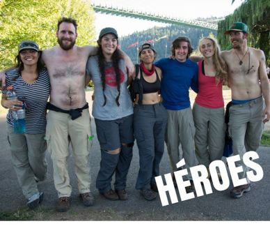 Seven people who hung off a bridge to stop Shell's oil ship.