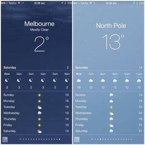 From the Near Term Human Extinction support group. July 15. High temperatures from Navuat, Canada (in the Arctic Circle) Vs. Melbourne Australia
