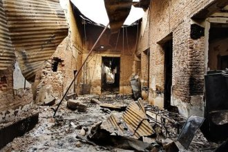 the wreckage from the US attack on a hospital in Kunduz, Afghanistan. Pic from MSF