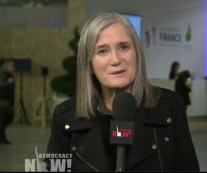 Amy Goodman of Democracy NOW!, the only news outlet giving extended coverage at Paris COP21.
