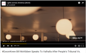 Exxon purchases ad space on YouTube's file of 350.org's People's action against Exxon.