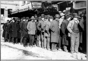 Lines for free soup during the Great Depression. we have 93 million adults not participating in the workforce, but they're home with their wi-fi.
