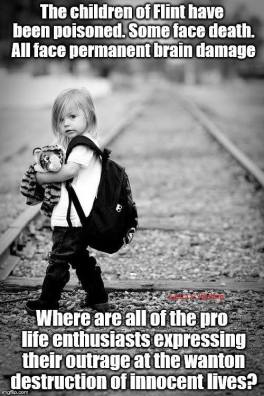 The meme that set off a bit of a dust-up on FB. Flint is 56% African American--why take a pic of a blonde child to represent the crime?